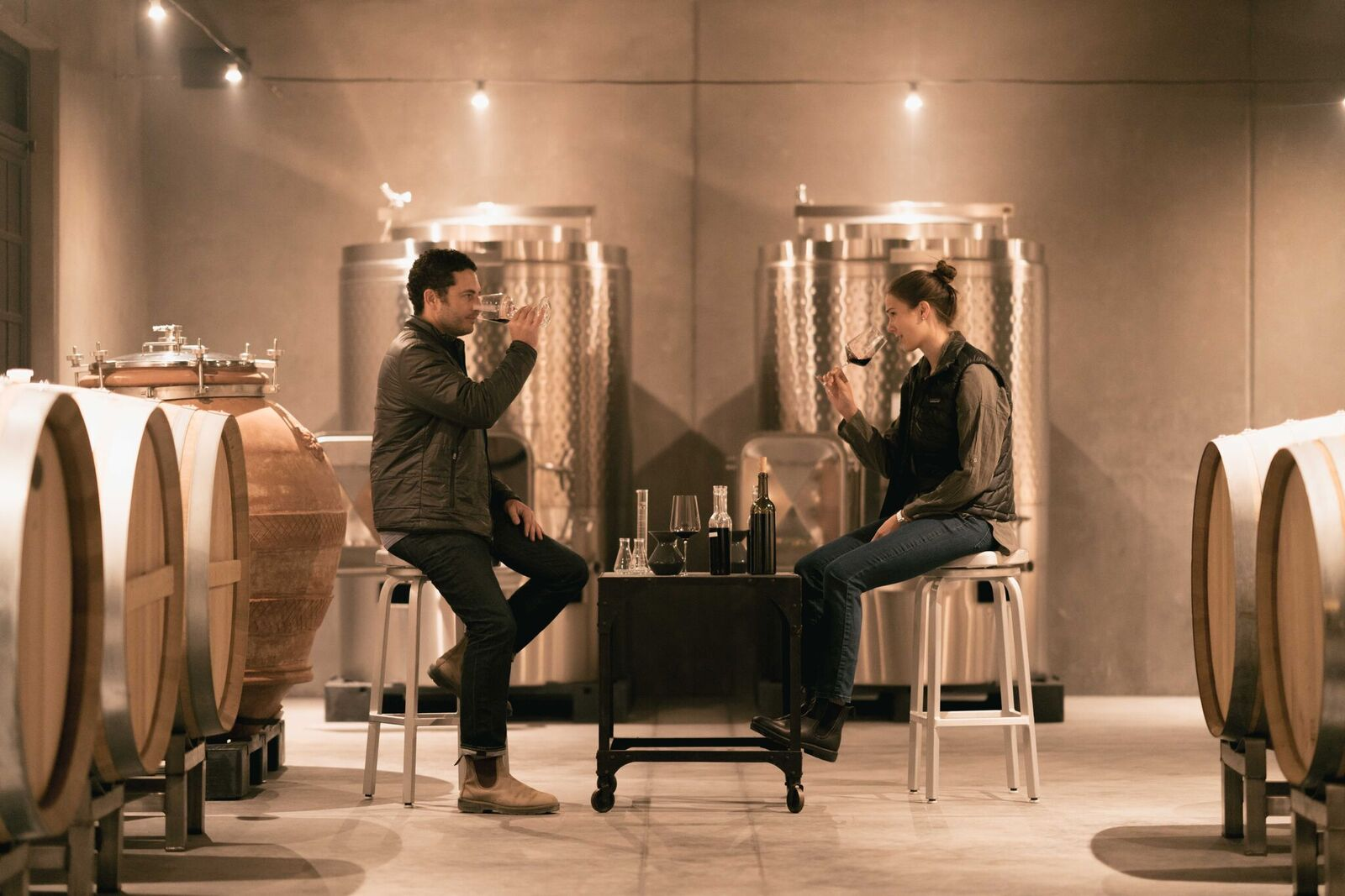 Helianthus Wine - Jason and Jessica in the cellar